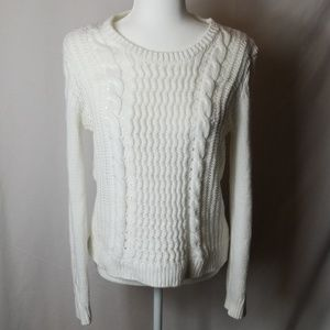 H & M Winter White Cable Knit Sweater Sz M